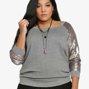 NWT Torrid Sequin Sweatshirt Gray Henley 4 or 26